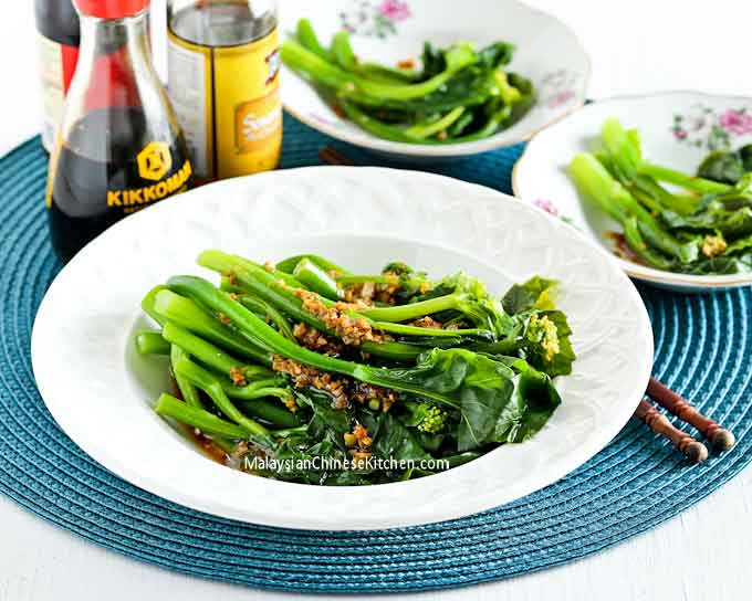 tender crisp blanched baby Gai Lan (Chinese Broccoli) with Oyster Sauce