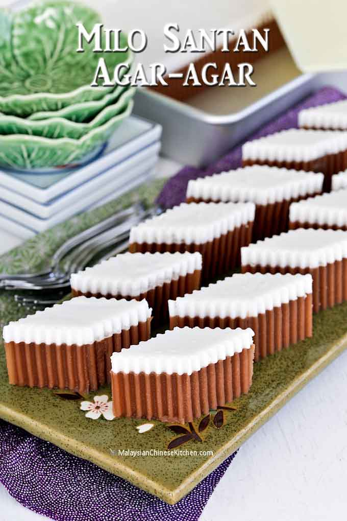 Milo Santan Agar-agar cut into lozenge shape pieces ready to be served.