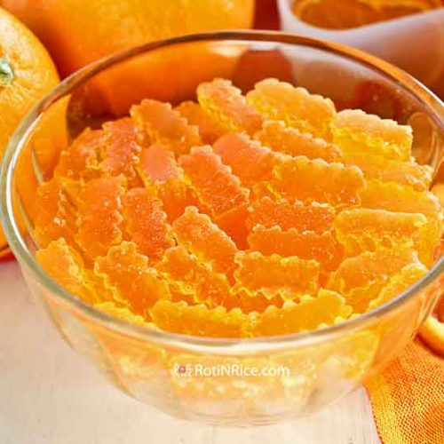 This Dried Orange Agar-agar is an easy to prepare crystallized orange flavored jelly. It has a sandy texture and is best savored in small pieces. | MalaysianChineseKitchen.com #driedagaragar #driedagar #crystallizedjelly