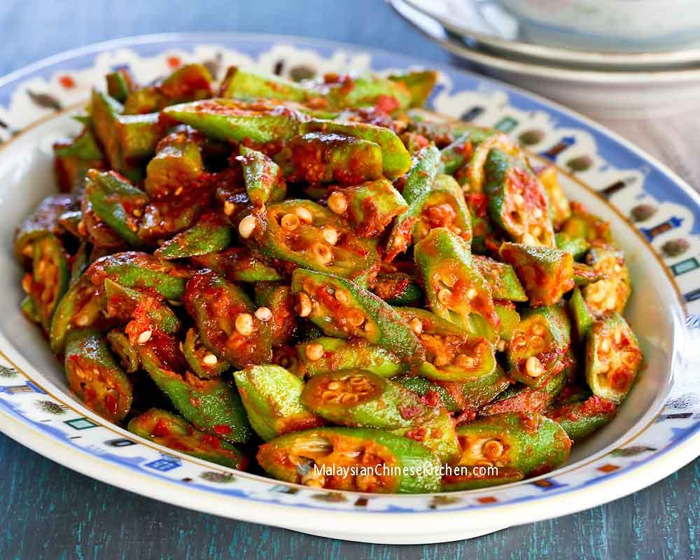 Serve this Bendi Goreng Belacan (Okra Belacan Stir Fry) with lots of steamed rice.