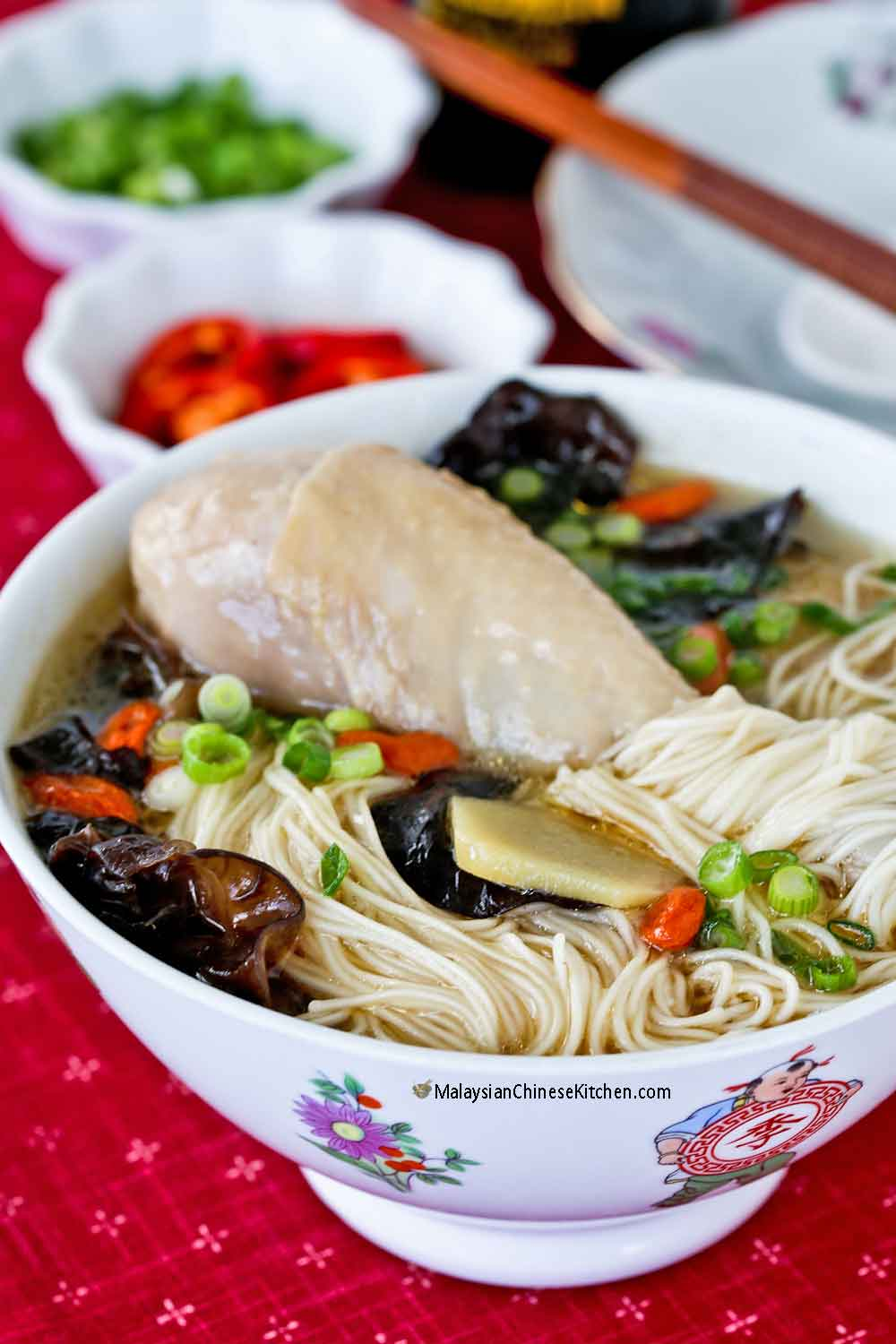 Warm and comforting Ginger Wine Chicken Mee Suah.