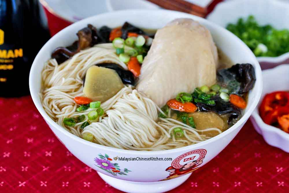 Ginger Wine Chicken Mee Suah served as a meal in itself.