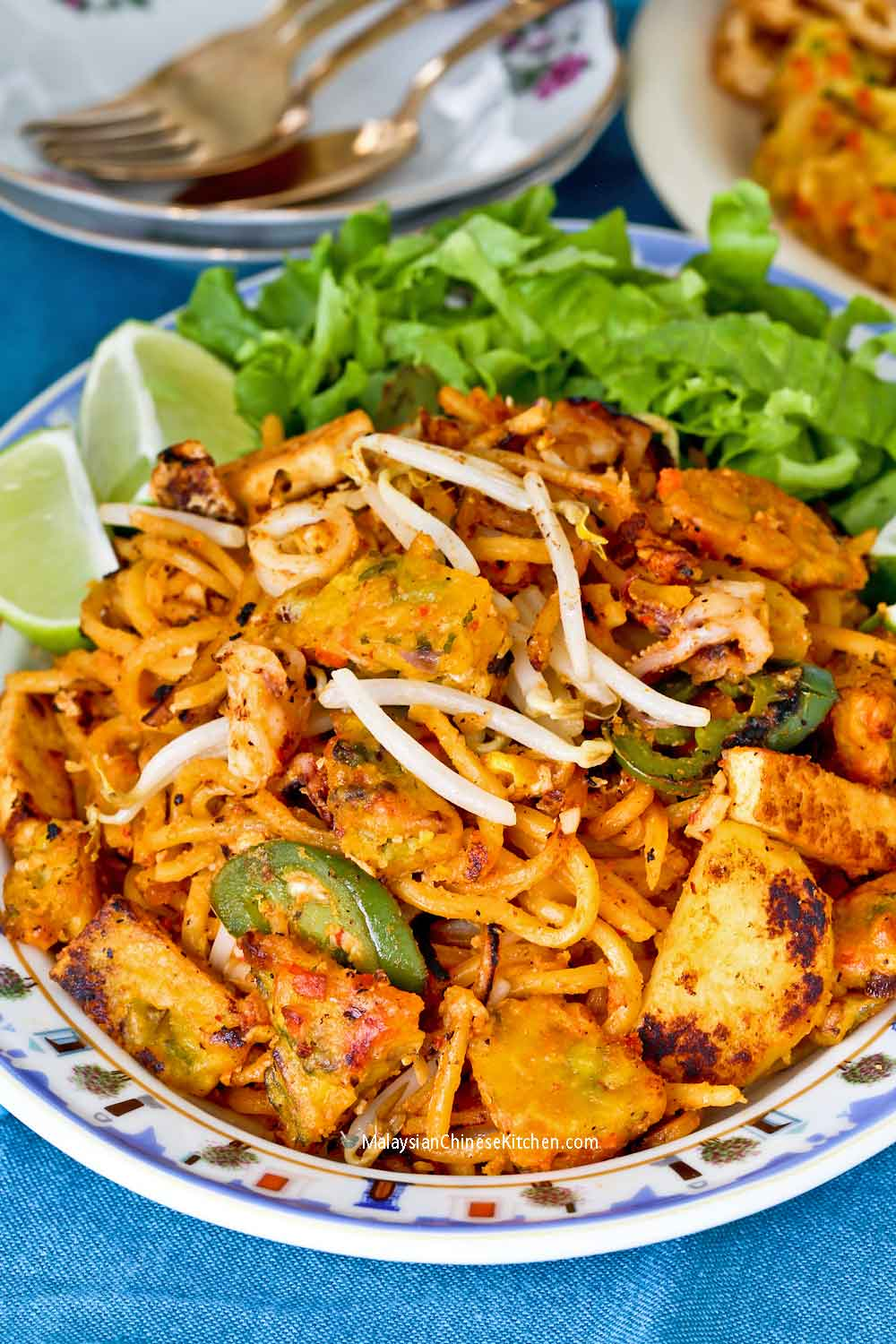 Mee Goreng Mamak with special sauce and fritters.