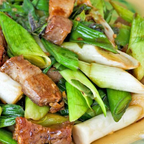 Quick and easy Stir Fry Leeks with Roast Pork Belly.