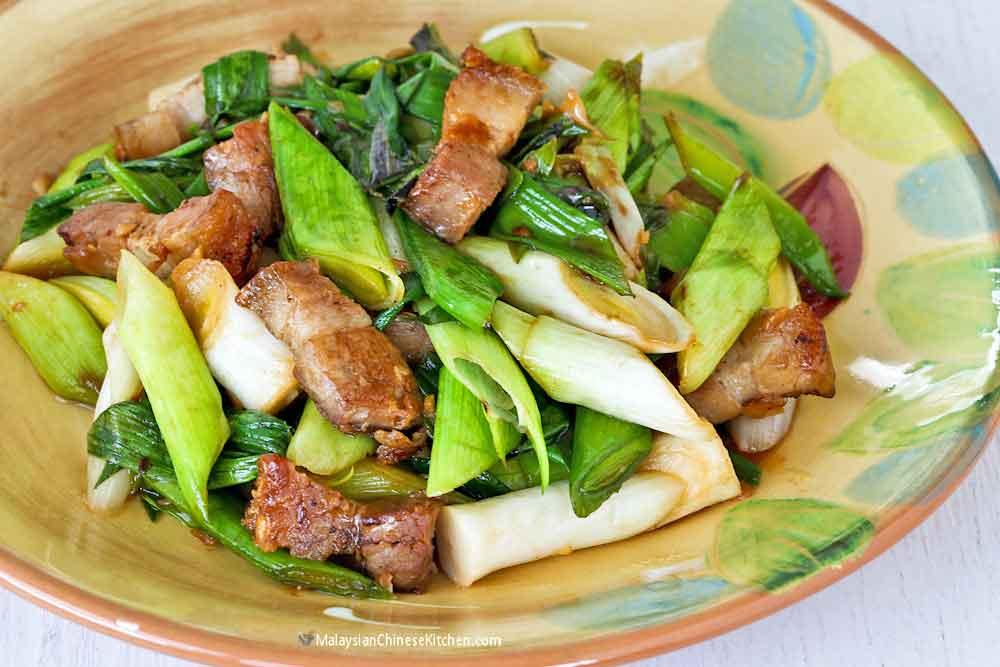 Stir Fry Leeks with Roast Pork Belly