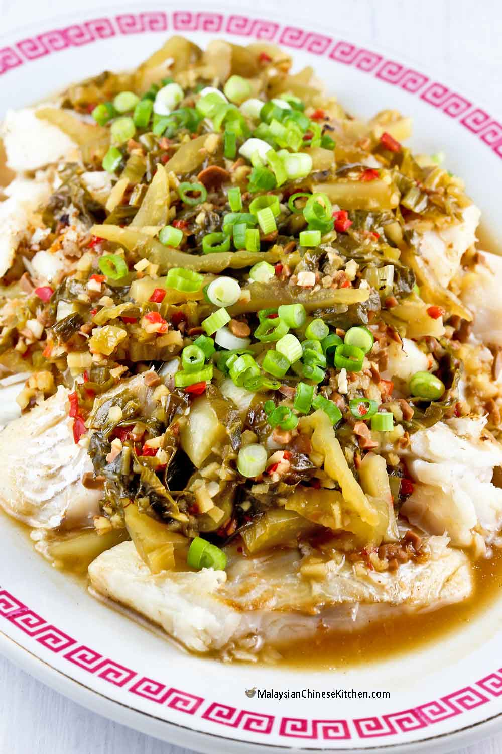 Fried Fish with Pickled Mustard Bean Paste Sauce perfect served with steamed rice.