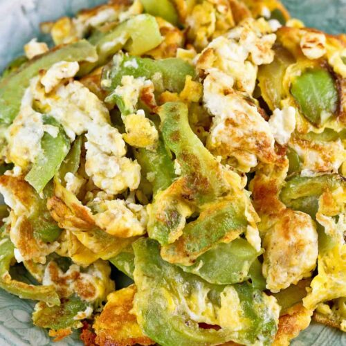 Quick and easy Fried Eggs with Bitter Gourd.