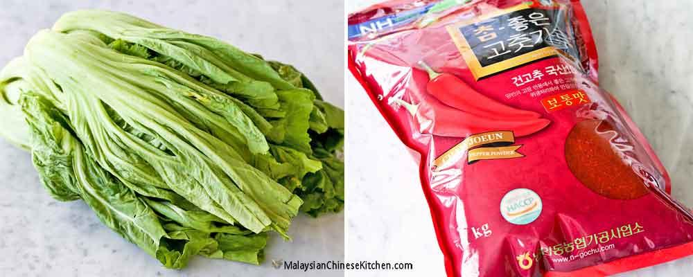 Mustard greens and gochugaru (Korean chili pepper flakes)