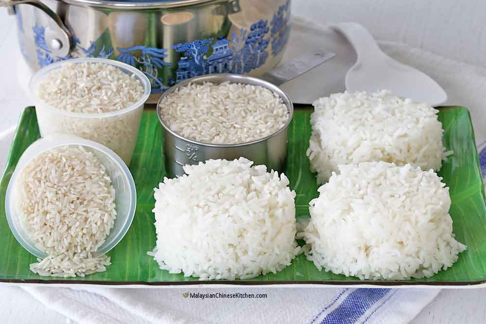 Uncooked rice and yield of cooked rice.