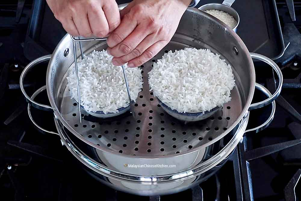 How to Steam Rice using a steamer on the stove top.