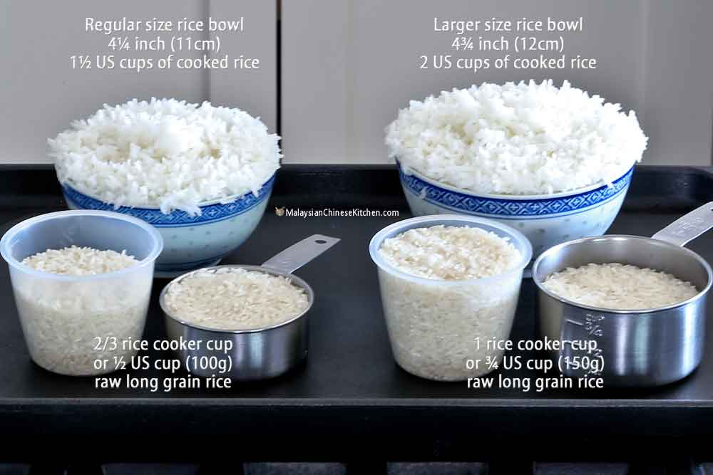 How much rice to cook and serving size of cooked rice.