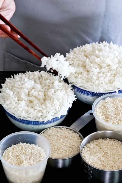 Tutorial on How to Steam Rice in a steamer for the fluffiest rice ever with no messy spill overs.